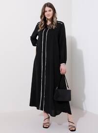 Siyah - Astarsız kumaş - Yuvarlak yakalı - Büyük beden elbise