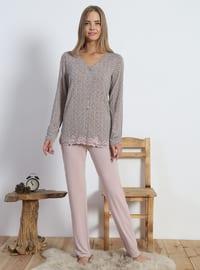 Pink - Powder - V neck Collar - Multi - Viscose - Pyjama Set
