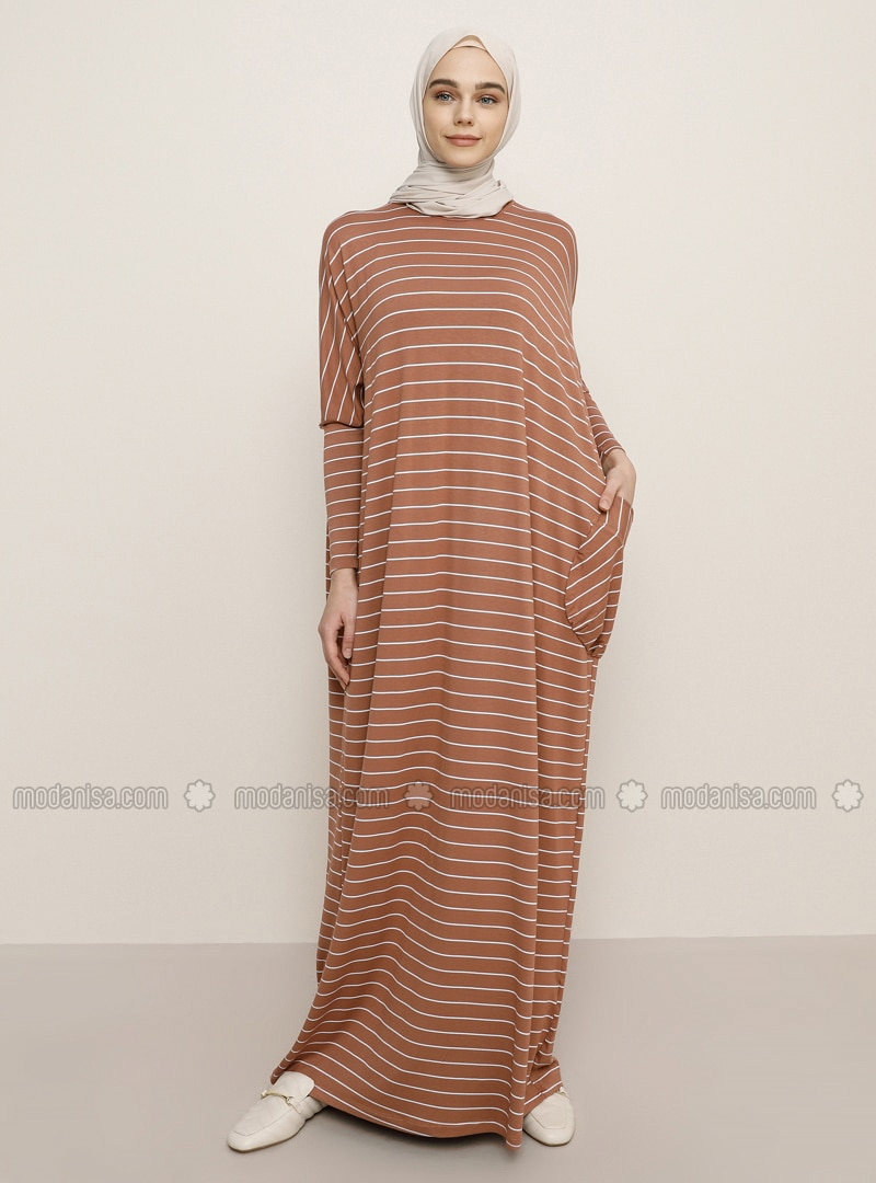 Tan - Crew neck - Unlined - Viscose - Dress