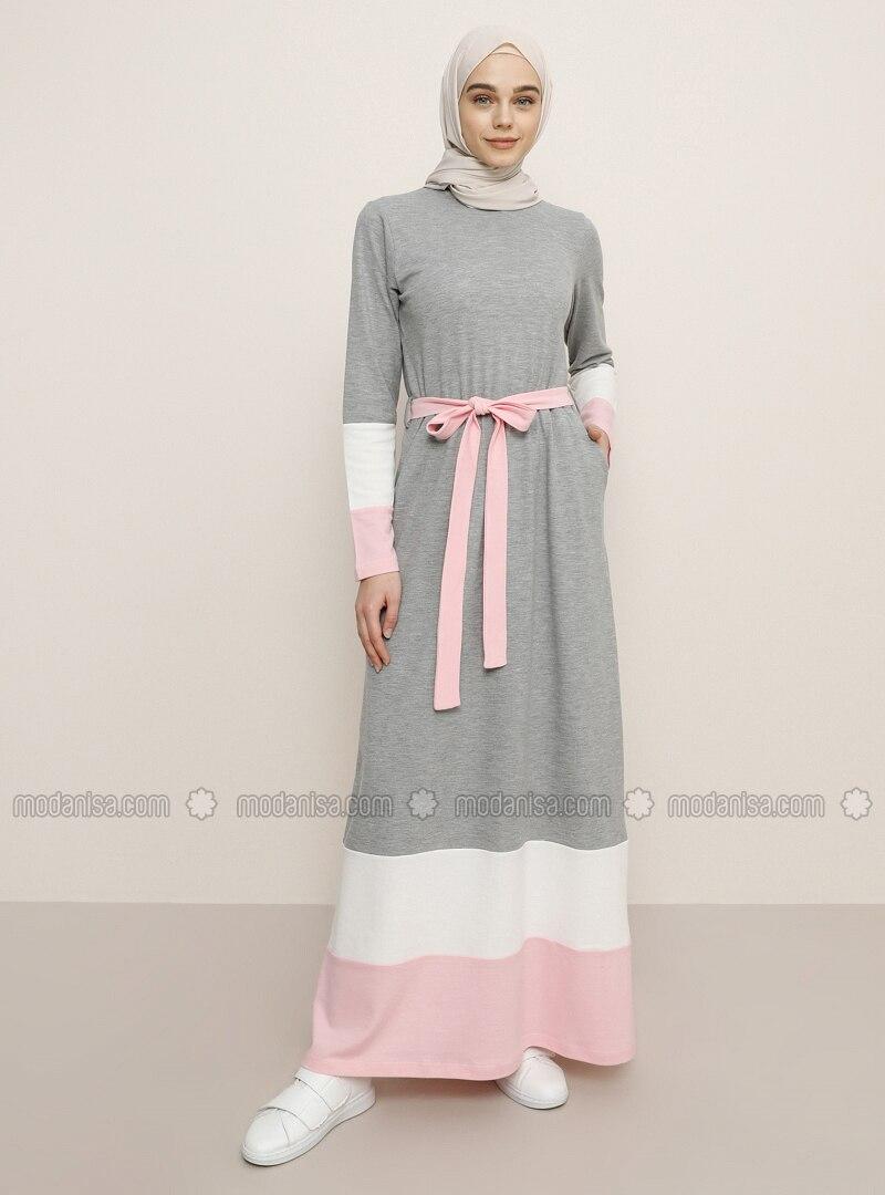White - Gray - Crew neck - Unlined - Dress
