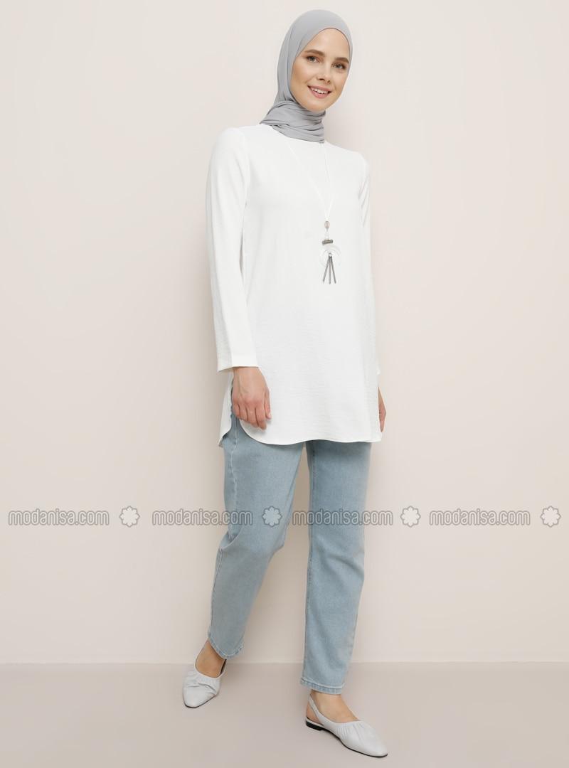 White - Crew neck - Tunic
