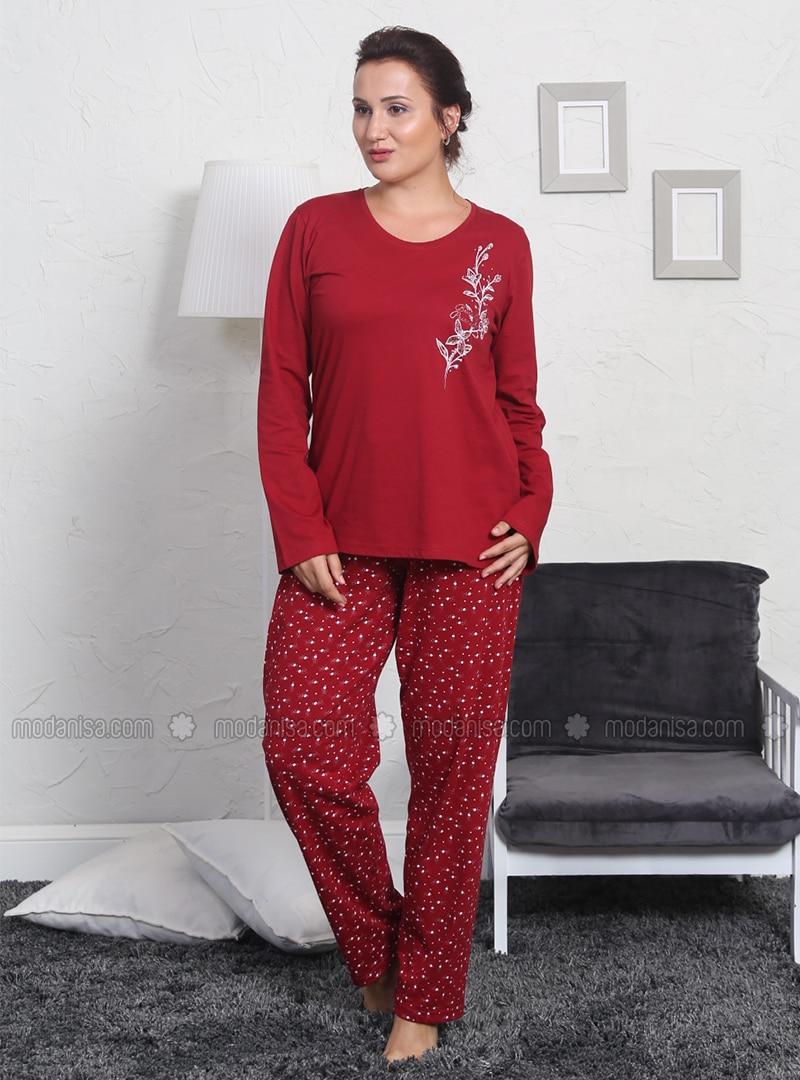 Maroon - Crew neck - Polka Dot -  - Pyjama Set