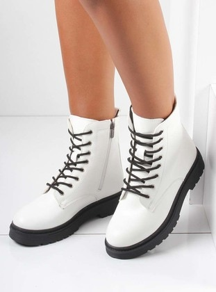 White - Ecru - Boot - Boots