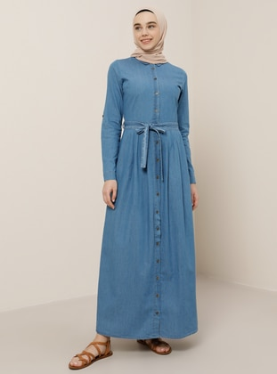 Blue - Point Collar - Unlined - Denim - Cotton - Dress
