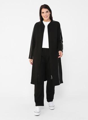 Oversize Full Zipper Sweatshirt&Trousers Sports Set - Black White - Alia