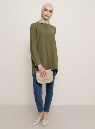 Khaki - Stripe - Crew neck - Tunic
