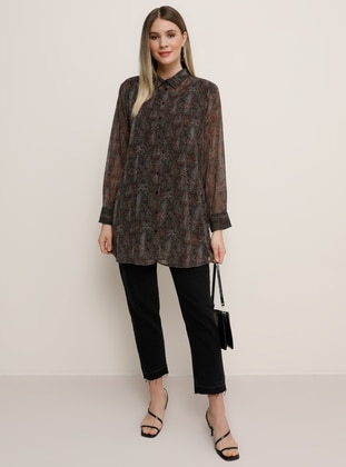 Khaki - Multi - Point Collar - Plus Size Tunic
