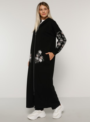 Black - Black - Floral - Unlined -  - Plus Size Coat - Alia