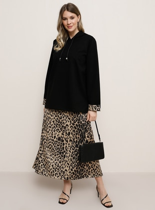 Black - Leopard - Unlined -  - Plus Size Suit