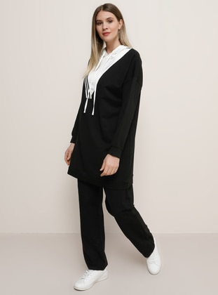 Ecru - Black -  - Plus Size Tracksuit Sets