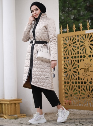 Beige - Fully Lined - Waterproof - Puffer Jackets - Rana Zenn