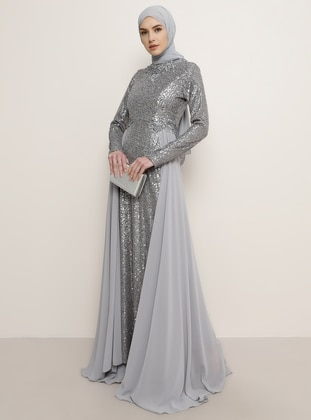 Gray - Polo neck - Muslim Evening Dress - Tavin