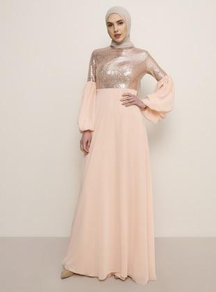 Rose - Salmon - Fully Lined - Crew neck - Muslim Evening Dress