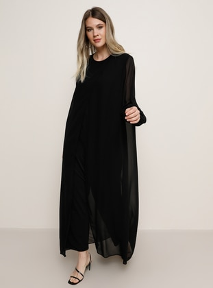 Black - Crew neck - Plus Size Jumpsuits