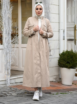Beige - Unlined - Point Collar - Denim - Trench Coat - Neways