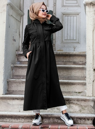 Black - Unlined - Point Collar - Denim - Trench Coat - Neways