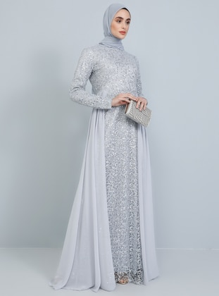 Silver tone - Fully Lined - Crew neck - Muslim Evening Dress - Tavin