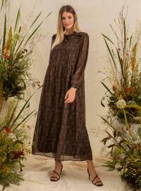 Khaki - Multi - Fully Lined - Crew neck - Plus Size Dress