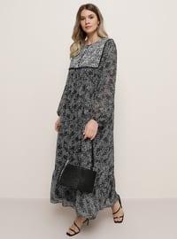 Noir - Multicolore - Col rond - Robe grande taille