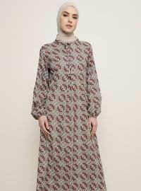 Bordo - Vizon - Çok renkli - Yuvarlak yakalı - Astarsız kumaş - Elbise