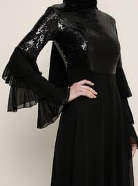 Black - Fully Lined - Crew neck - Muslim Evening Dress