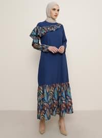 İndigo - Çok renkli - Yuvarlak yakalı - Astarsız kumaş - Elbise