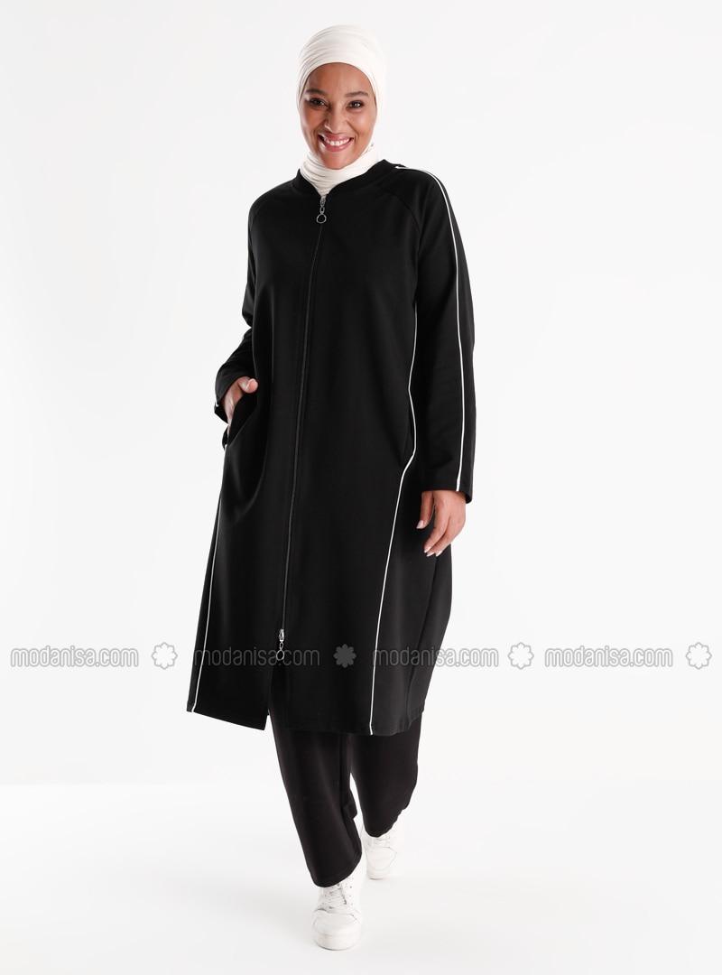 Oversize Full Zipper Sweatshirt&Trousers Sports Set - Black White