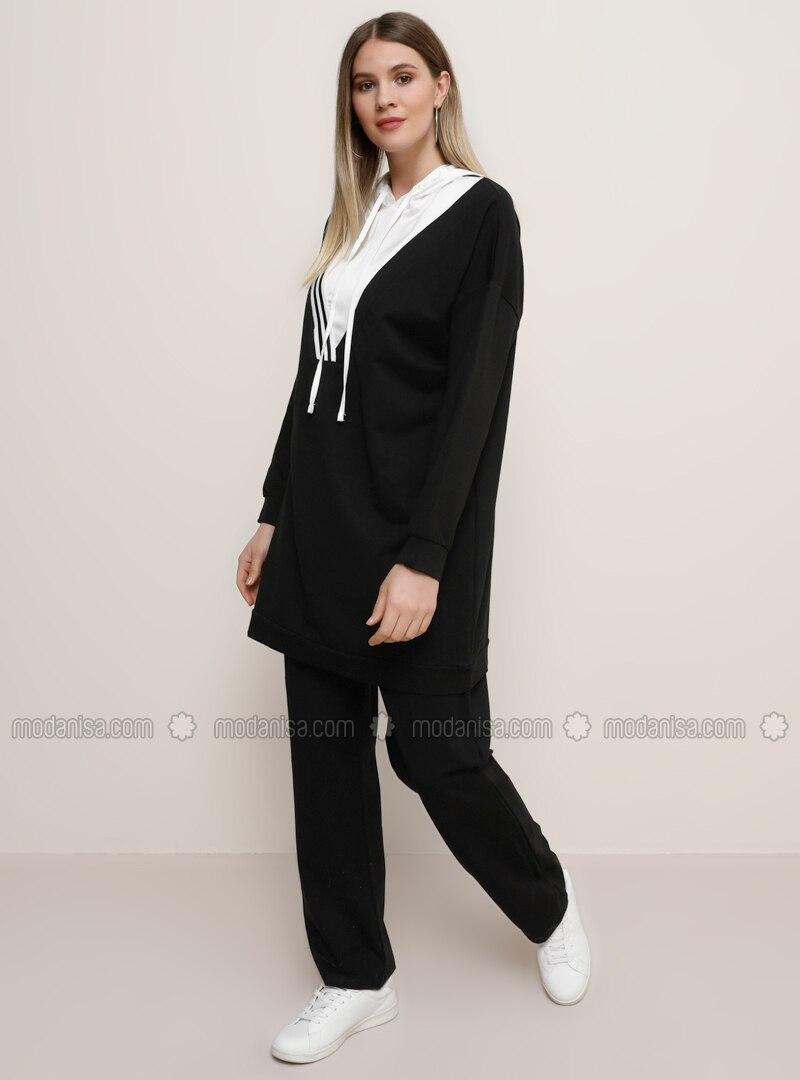 Ecru - Black -  - Plus Size Tracksuit Sets