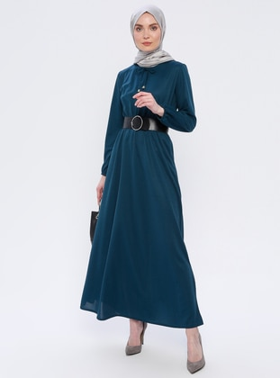 Petrol - Green - Crew neck - Unlined - Dress