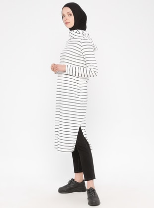 White - Stripe - Viscose - Tunic