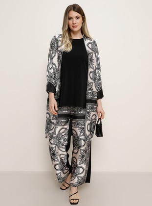 Black - Multi - Unlined - Plus Size Suit - Alia