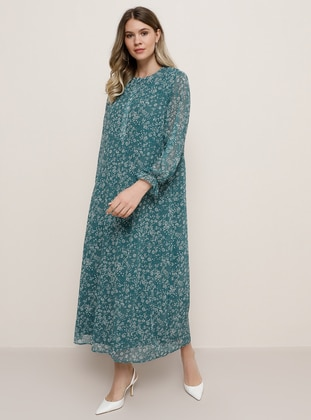 Green - Multi - Fully Lined - Crew neck - Plus Size Dress