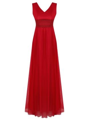 Maroon - V neck Collar - Unlined - Dress