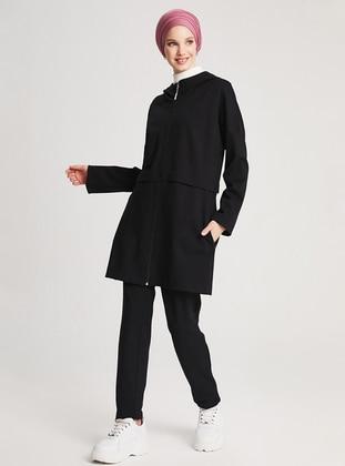 Black - Unlined - Viscose - Suit