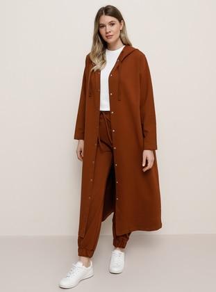 Tan - Unlined -  - Plus Size Coat - Alia