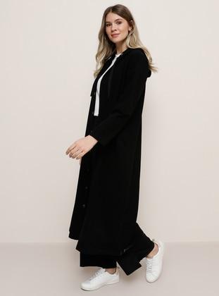Black - Unlined -  - Plus Size Coat - Alia