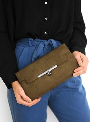 Khaki - Clutch - Clutch Bags / Handbags