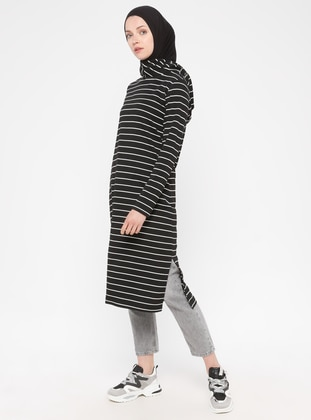 Black - Stripe - Viscose - Tunic