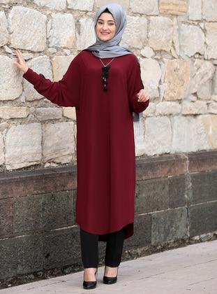 Maroon - Unlined - Boat neck - Abaya