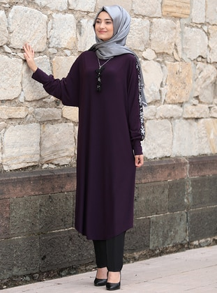 Plum - Unlined - Boat neck - Abaya