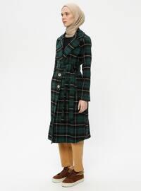 Green - Plaid - Unlined - Shawl Collar -  - Topcoat