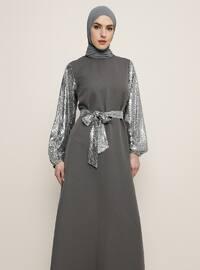 Smoke - Unlined - Crew neck - Muslim Evening Dress