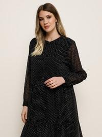 Beyaz - Siyah - Astarsız kumaş - Yuvarlak yakalı - Büyük beden elbise