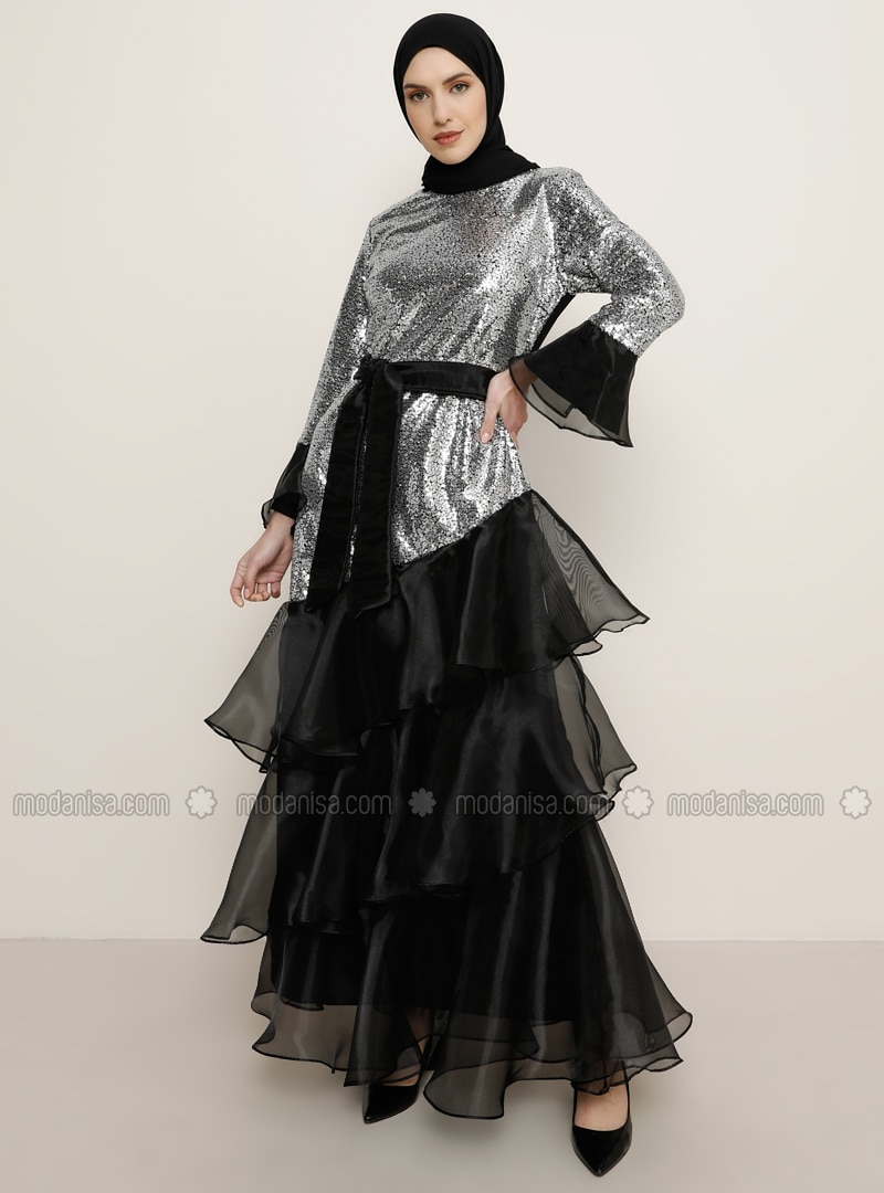 Smoke - Fully Lined - Crew neck - Muslim Evening Dress