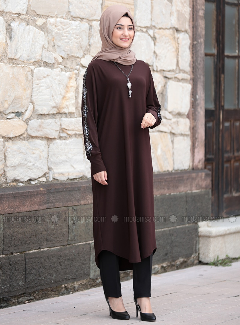 Brown - Unlined - Boat neck - Abaya
