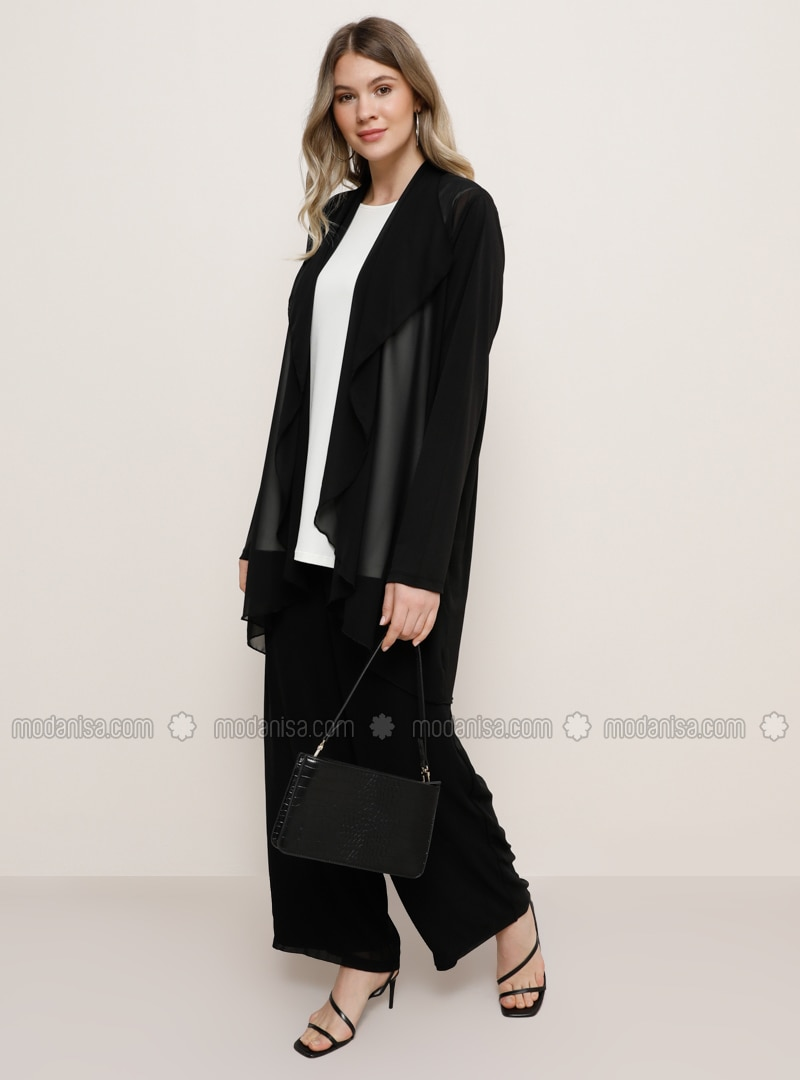Black - Fully Lined - Plus Size Evening Suit