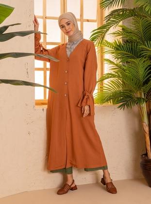 Cinnamon - Unlined - V neck Collar - - Viscose - Topcoat