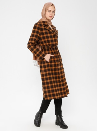 Camel - Plaid - Unlined - Coat