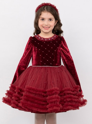 Crew neck -  - Fully Lined - Maroon - Girls` Dress