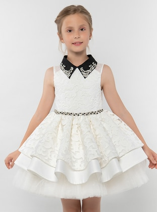 Point Collar - Ecru - Girls` Dress - Pamina
